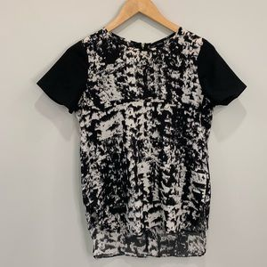 Cynthia Rowley Black and White Abstract Top XS